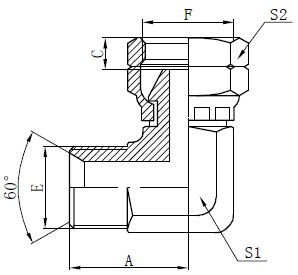 BSP Elbow Connector Drawing