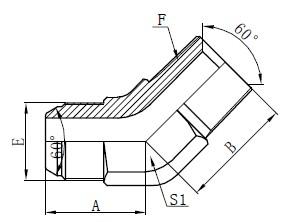 JIS GAS Kutni konektori Crtanje